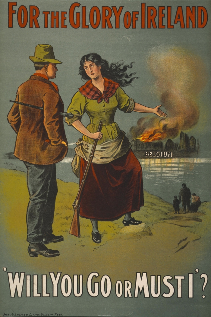 One of the most famous recruitment posters for Ireland, calling on Irishmen to join following Germany's invasion of neutral Belgium.