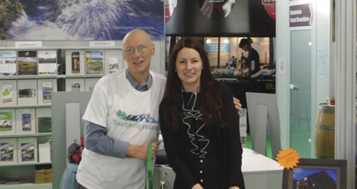 Liam Bairéad, Tourbiking Ireland (based in Ballina) and Eva Burg, Wild Rover Tours, on the Tourism Ireland stand at CMT (Caravan, Motor and Tourism Fair) in Stuttgart.