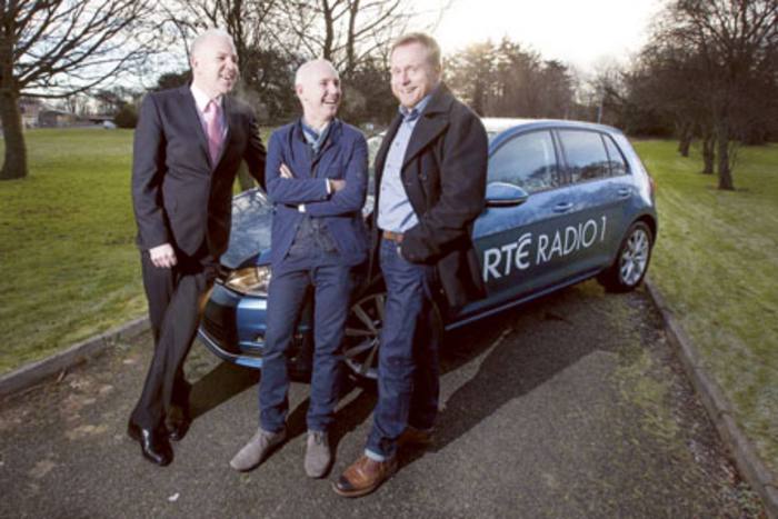 Pictured at the announcement that Volkswagen is sponsoring the new Ray D'Arcy Show on  RTÉ Radio 1 were Paul O'Sullivan, head of marketing Volkswagen Ireland; Ray D'Arcy; and Dan Healy, commercial director RTÉ Radio.