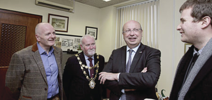 Pictured during his visit to the Advertiser newsroom were from left group editor Declan Varley, Mayor Donal Lyons, Ambassador Thebault and embassy attache Max Salendre.