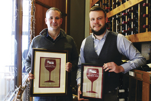 From left: Luke Anthony and Matt Cahill from McCambridge's receiving their Excellence Award for Food Retailer Off Licence of the Year 2015.
