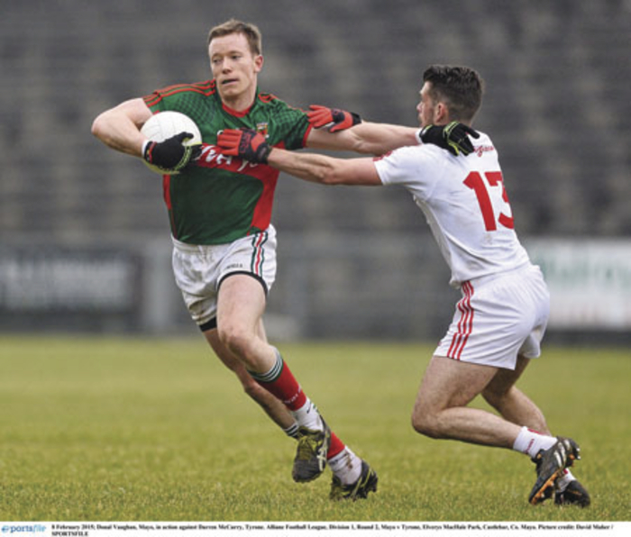 Frustrated: Donal Vaughan was more frustrated with the mistakes that Mayo made than anything else last Sunday. Photo: Sportsfile.