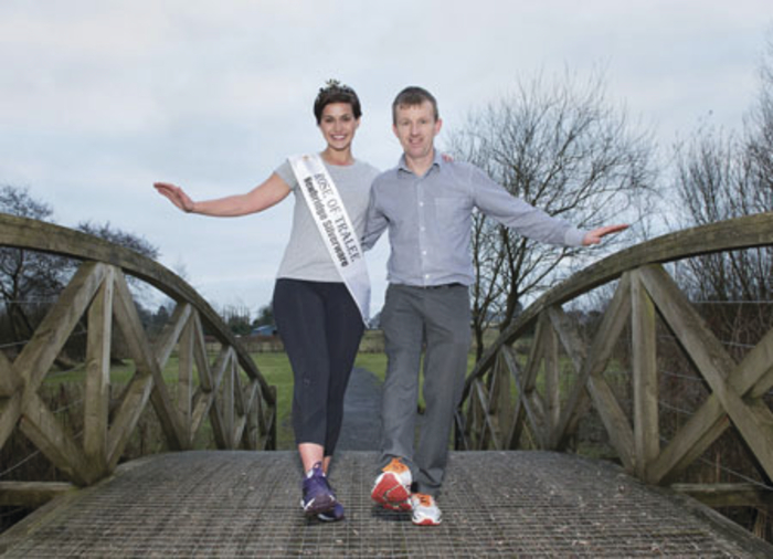 Rose of Tralee Maria Walsh and road safety officer Noel Gibbons send a Valentine's appeal to young drivers. Photo: Michael McLaughlin.