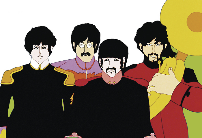 Paul, John, Ringo, and George as depicted in the 1968 film Yellow Submarine.