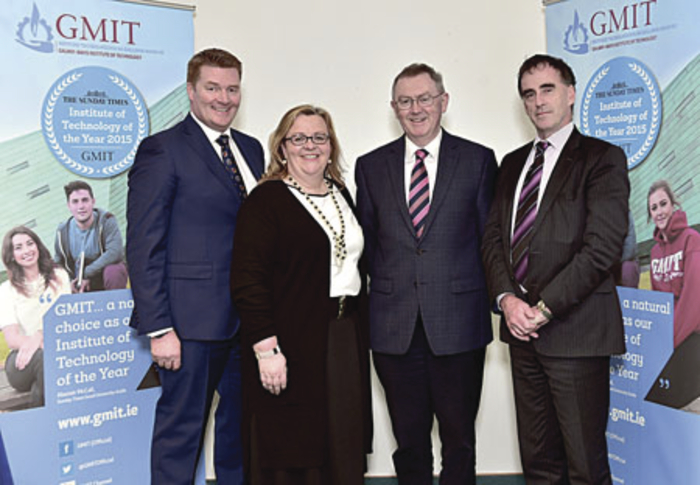 Paidi O'Lionaird, TG4, Cáit Noone, head of the GMIT College of Tourism & Arts, Sean O'Rourke, RTÉ, and Michael Carmody, president of GMIT at GMIT's launch of a series of spring talks in association with RTÉ.  Photo: Joe Travers.