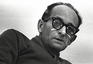 Eichmann on trial in Jerusalem in 1961.