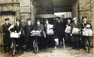 The postmen are, left to right: Frank Kavanagh, Fairhill; Miko O'Halloran, St Vincent's Avenue; Ossie O'Connell, Prospect Hill; Sam McGowan, Bushypark; PC Kelly, Arch House (next to the Spanish Arch); Jim 'Mater' Kelly, Newcastle; Jack Berry, St John's Terrace; John Clancy, Raleigh Row; Joe Crowley, Bohermore; and John Woods, Whitehall.