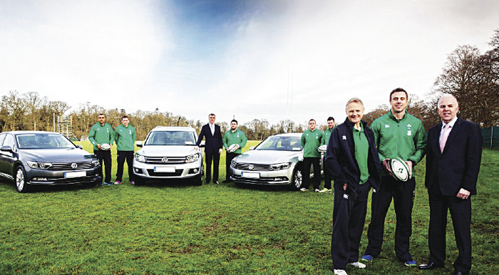 Pictured at the handover of the new Volkswagen IRFU fleet are (from left to right): Simon Zebo; Tommy O'Donnell; Tiernan O'Rourke, national corporate sales manager, Volkswagen; Marty Moore; Sean Cronin; Fergus McFadden; Joe Schmidt; Tommy Bowe and Paul O'Sullivan, head of marketing, Volkswagen.