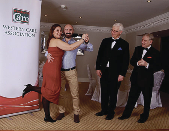 Henry McGlade, Joe Brett, Western Care fundraising manager, and dancers Joao and Ana Casimiro at the launch of Strictly Come Dancing - The Winners.