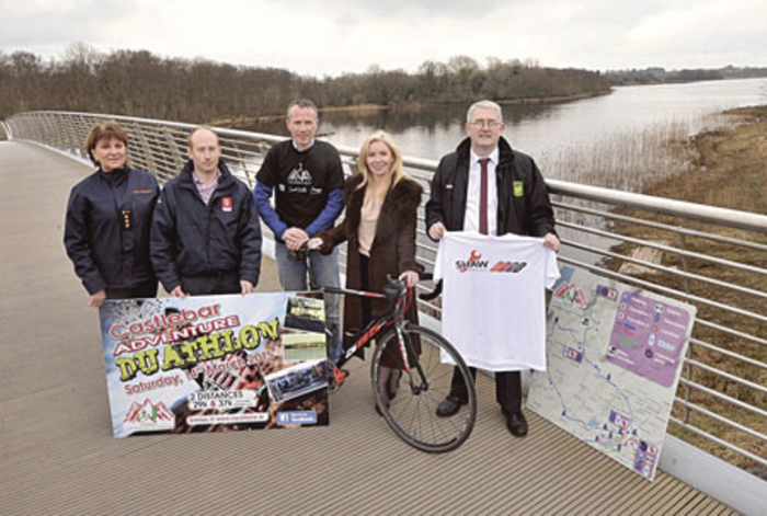 Rose Doherty, Civil Defence, Mick Shaw of Shaw Commercials (sponsor), Ger Duffy, marathoner, Joanne Grehan, Mayo Local Enterprise Office, and Michael Baynes, Castlebar Chamber, at the launch of the Castlebar Adventure Duathlon at Lough Lannagh.