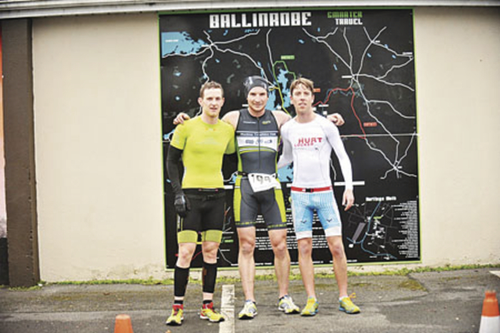 The top three:Second placed, Stephen Donnelly (Ballina), first placed Killian Heery (Muckno) and third placed John Greaney (Hurt Locker Galway) after the Ballinrobe Duathlon last weekend.