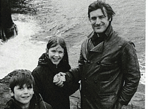 Nicholas and Frieda  with their father Ted Hughes on holiday in Scotland, early 1971.