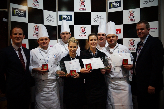 Gold medal and overall winners of the Cook and Serve national competition at Catex 2015, (l-r): GMIT lecturer Diarmuid Ó Conghaile, students Marek Hajduk, Shane Austin, Patrycja Sadowska, Aisling Lee, GMIT lecturer Frank O'Connor, student Cezary Sodel, and lecturer Brian Morrissey.