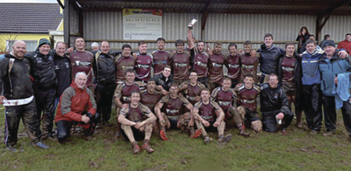 NUI Galway rugby XV celebrate victory and promotion in this year's Connacht J1C league decider over Sligo at the weekend.