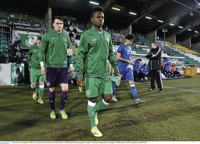 Castlebar's Noa Baba leads out the Republic of Ireland u19 team on Wednesday night. Photo: Sportsfile