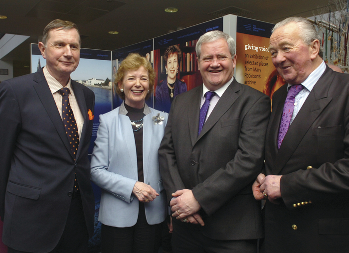 Ms Mary Robinson pictured at the opening last weekend of an exhibition of selected pieces from her prestigious archive with members of the board of The Mary Robinson Centre from left: Gerry Jordan, Barry McLoughlin and Adrian Bourke. Photo: Henry Wills.