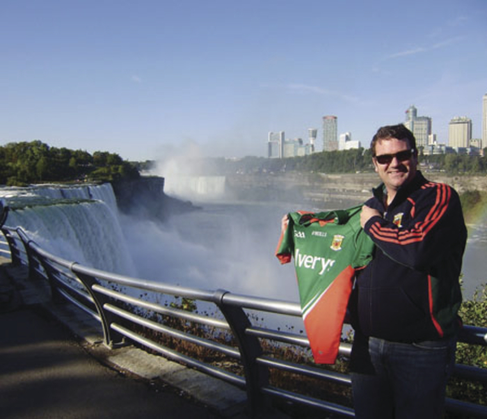 Kiltimagh native Padraic Walsh at Niagara Falls on the Canadian/US border.