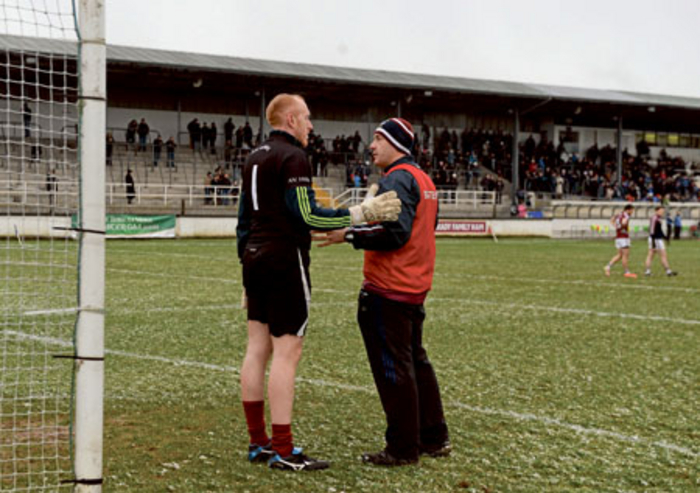 Westmeath manager Tom Cribbin in conversation with his goalkeeper and selector Gary Connaughton before starting his first game after coming out of retirement last weekend. Photo: Sportsfile