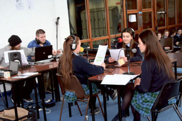 Students from Our Lady's Bower broadcasting live on Athlone Community Radio 88.4fm last year - transition year students will be on the station again this Friday for Seachtain na Gaeilge