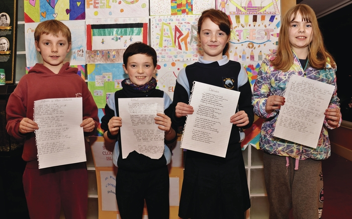 Participants from Islandeady Community Games who took part in a recent handwriting competition. Photographed are Tom Ward, Adam Coyne, Aoife O' Malley and Tara Hennelly.
