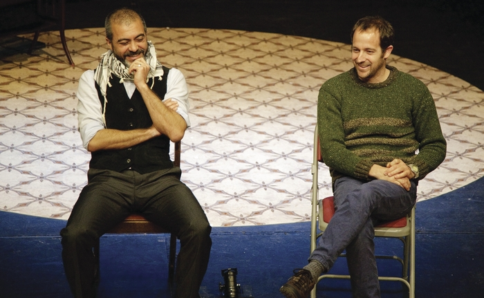 Palestinian actor Fadl Mustapha (left) and Israeli writer Idan Meir.