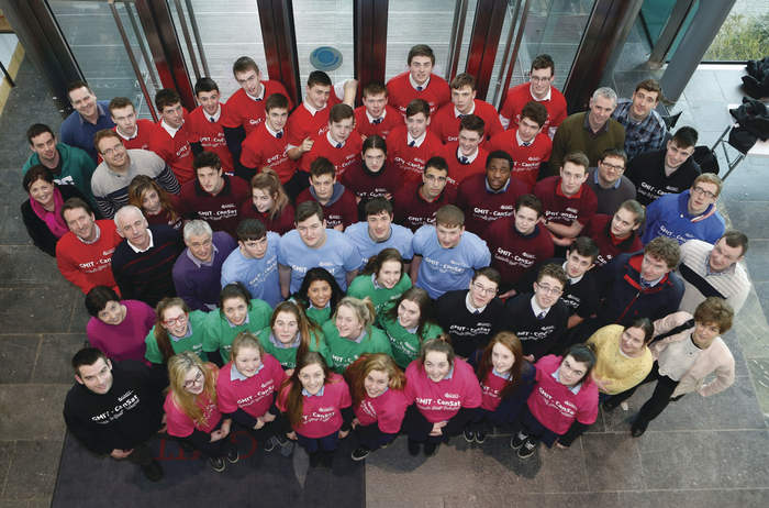 Galway secondary school teams who competed in this year's CanSat regional final hosted by GMIT pictured with their industry mentors, GMIT engineering lecturers, and student mentors. Photo: Aengus McMahon.