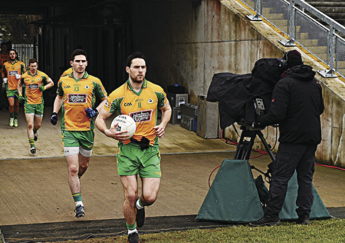 Corofin captain Michael Farragh, leading his side out in Tuesday's All Ireland Club final.