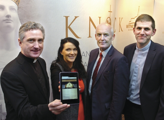 Attending the launch of Knock Shrine's sleek new website in Knock House Hotel was rector and PP Fr. Richard Gibbons, Maria Hunt, marketing and communications manager, Shrine manager David McConn, and Fr Patrick Burke, CC Knock. Photo: Henry Wills.