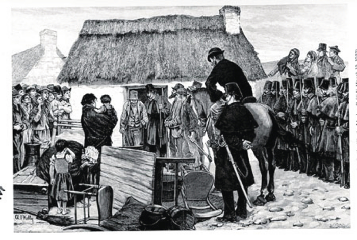 Complete change of approach, 'An eviction in the west of Ireland' (By Aloysius O' Kelly) published in ILN March 19 1881. The despair of the weeping mother,  the furniture thrown outside, the soldiers helping the bailiff do his work, the anxious crowd watching. The quality of O'Kelly's work is obvious.