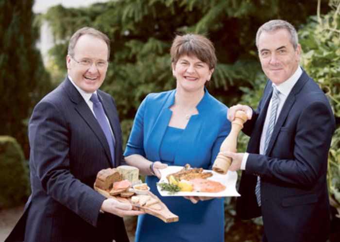 James Nesbitt was joined by Tourism Northern Ireland's chairman Howard Hastings and Tourism Minister Arlene Foster at the announcement that 2016 will be the Year of Food in Northern Ireland.