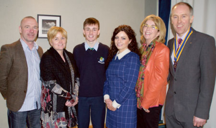 Noel Galvin; Caroline Galvin; Cathal Galvin, winner Rotary Youth Leadership Competition; Hazel Dooley, Athlone Community College; Grainne Bagnell, Rotary; and Dermot Neary President Rotary Club of Athlone.