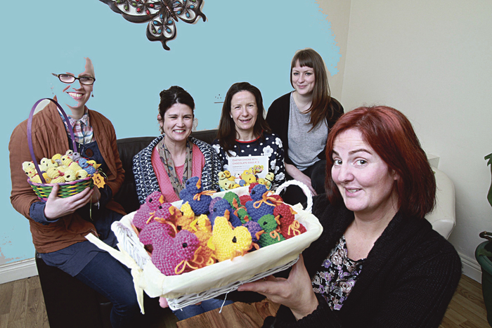 Natalie Coen deputy manager of  No 4 Project with staff Rosemary Sweeney, Delia Clarke, Nicola D'Arcy and Eileen Whelan with their knitted chicks, a fundraising effort for Galway Diocesan Youth Services.  Photo:-Mike Shaughnessy