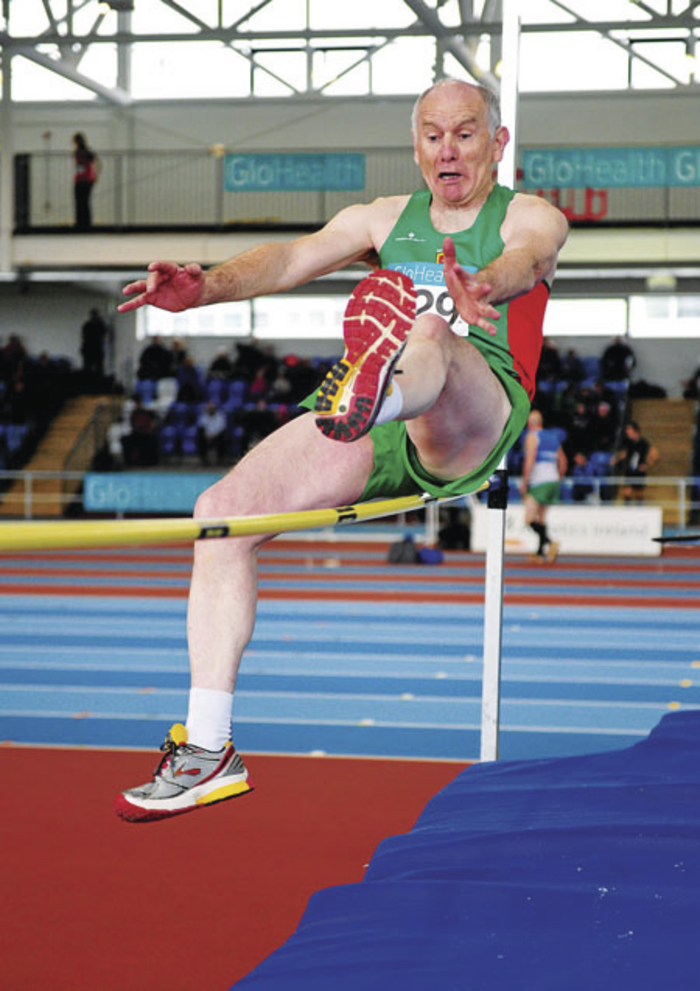 Up and over: Patrick Moran (Mayo AC) in action at the National Masters Track and Field Championships in Athlone. Photo: Sportsfile