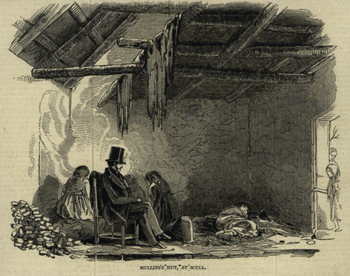 This moving image, exquisitely drawn,  shows the local vicar sharing the final hours  of a dying man  in a hovel at Scull, Co Cork. The sketch was made by James Mahony who wrote that in order to make the drawing he had to stand 'up to his ankles in the flith upon the floor' The hut was less than 10 feet square. There were three children. Mahony further wrote that the poor man had buried his wife five days previously. 'Mullins died and three days later so did the vicar'. ( ILN February 20 1847)