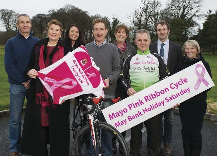 PINK RIBBON LAUNCH: Champion cyclist Seán Kelly performed the offficial launch of the Mayo Pink Ribbon Cycle 2015, in aid of cancer research. Also in photo, from left, was: John Brennan, Castlebar Cycling Club, Lourda McHugh, Marita Staunton and Yvonne Horkan, from Mayo Pink Ribbon, Vincent Jordan, Castlebar Cycling Club,  Robert Coyne, Mayo County Council and Mary Loftus, Mayo Pink Ribbon.