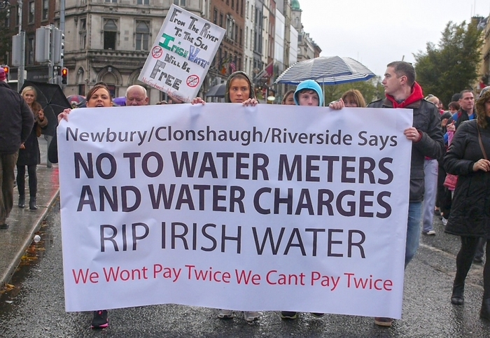 Protesters at last weekend's anti-water charges protest in Dublin.