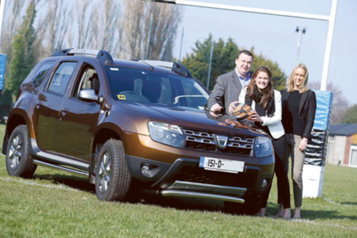 Pictured on the occasion of picking up  the keys to her new Dacia Duster were Patrick Magee, Dacia country operations manager; Fiona Coghlan, Irish Women's Rugby legend; and Lynne Boucher, Dacia marketing manager.