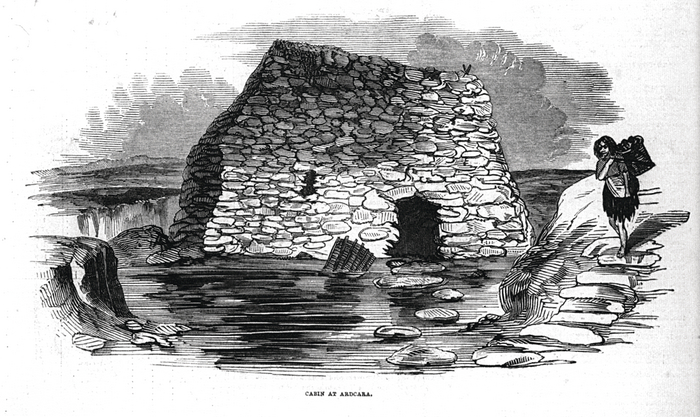 The 'Cabin at Ardcara' on the O'Connell estate, published in the Pictorial Times, January 31 1846
