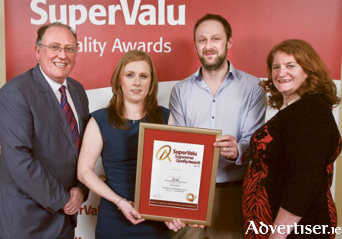 Martin Kelleher, managing director of SuperValu, Caroline Cashen and Eoin Kennedy from Buckley's SuperValu, Moate and Irene Collins, managing director of EIQA pictured at the SuperValu Quality Awards.