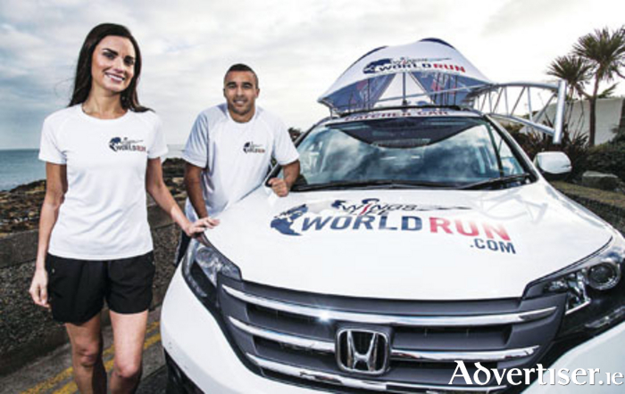 Honda brand ambassador Alison Canavan with Wings for Life brand ambassador Simon Zebo are pictured with the Honda CR-V Catcher Car which will be driven by Simon Zebo in the race.