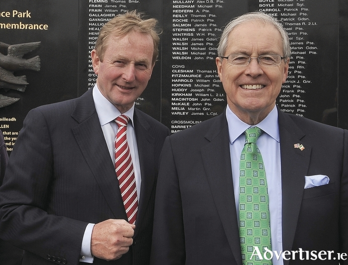 Ambassador Kevin F O'Malley with An Taoiseach Enda Kenny in Castlebar earlier this week. Photo: Conor McKeown.
