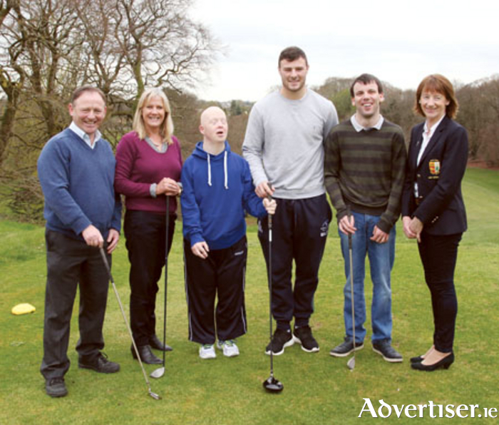 Willie Brady (chairperson, St Hilda's Services), Sheila Buckley Byrne (CEO, St Hilda's Services), Fergal Loonam, Robbie Henshaw (Connacht and Ireland rugby), Enda Fitzgerald, Anna Walsh (Lady Captain, Athlone Golf Club) at the launch of the St Hilda's Golf Classic which takes place in Athlone Golf Club on May 22.