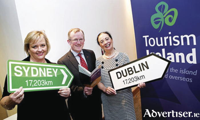 Diane Butler and Niall Gibbons, both Tourism Ireland, with Paula Carroll, Ashford Castle, at the launch of Tourism Ireland's new three-year strategy to boost tourism from Australia.