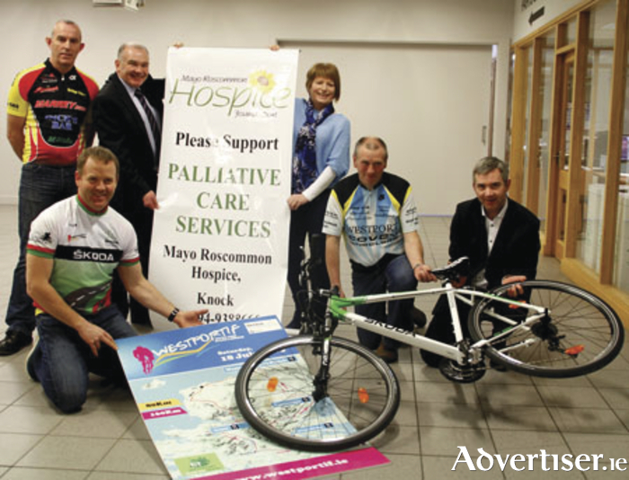 Pictured at the announcement of Mayo Roscommon Hospice as charity partners for Westportif 2015 were: Back: John Hughes, Western Lakes Cycling Club, Padraig Carolan and Breda Kelly, from Mayo Roscommon Hospice.  Front: Brian Golden, Western Lakes Cycling Club, Anthony Harrison, Covey Wheelers, and John Feerick, INM. Photo: Liz King.