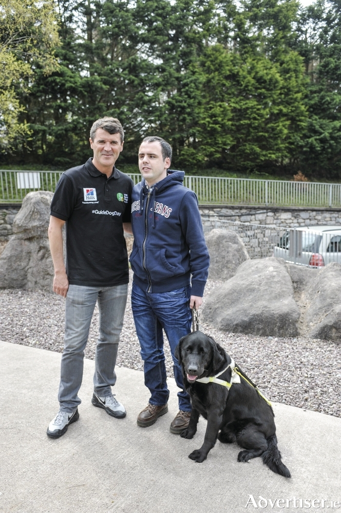 Tomas Langan from Castlebar and his guide dog Usha met with Roy Keane at the launch of Guide Dog Day, which is supported by Hills Dog Food.