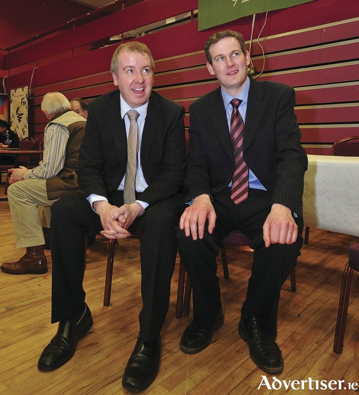 Brian Walsh and Sean Kyne at the 2011 election count. Photo:- Mike Shaughnessy