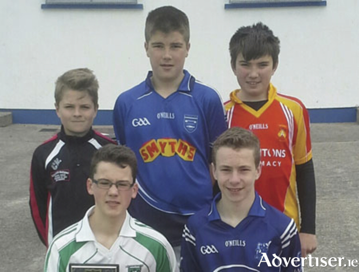 The Mayo U14 Feile Skillstar challenge contestants in Tooreen recently. Back (LtoR): Conor Keane (Ballyhaunis), Thomas Keane (Claremorris), Cathal McHale (Castlebar). Front (LtoR): Luke Connor (Caiseal Gaels - Winner), Kevin Kenneally (Tooreen - Runner-up).