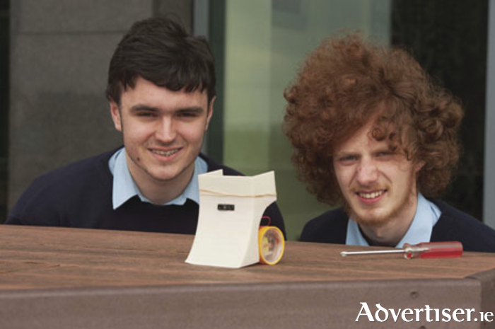Robot champions: Barry Chambers and Kirrell O'Dowd from Team Mel Gibson, St Gerald's, Castlebar. Photo: Andrew Downes.