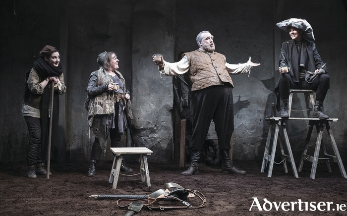 Charlotte McCurry (Blunt), Clare Barrett (Bradolph), Rory Noal (Falstaff) and Aisling O'Sullivan (Henry V) in DruidShakespeare. Photo:- Matthew Thompson