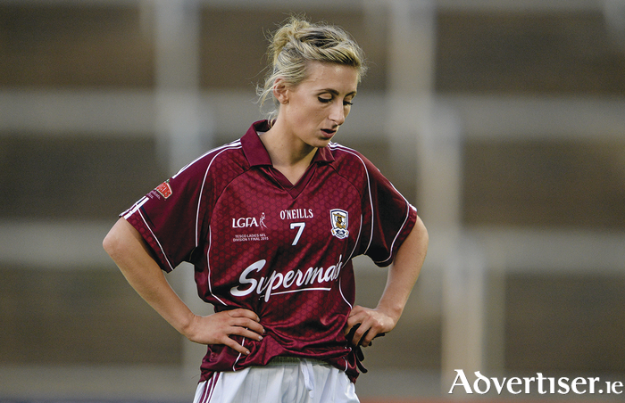A dejected Sinead Burke after Galway lost the TESCO HomeGrown Ladies National Football League division one final replay to Cork on Sunday.